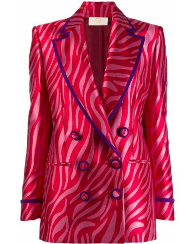 Розовый удлиненный пиджак с карманами Sara Battaglia