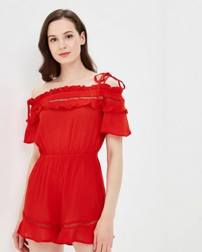 Красный комбинезон с шортами Glamorous