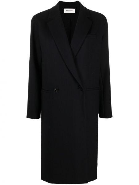 Шерстяное черное длинное пальто двубортное Masscob