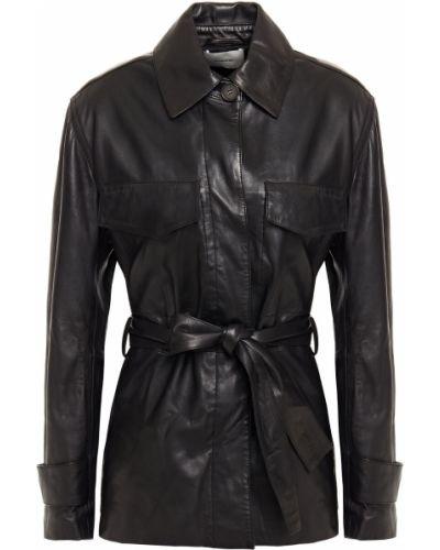 Черная кожаная куртка с карманами Vince