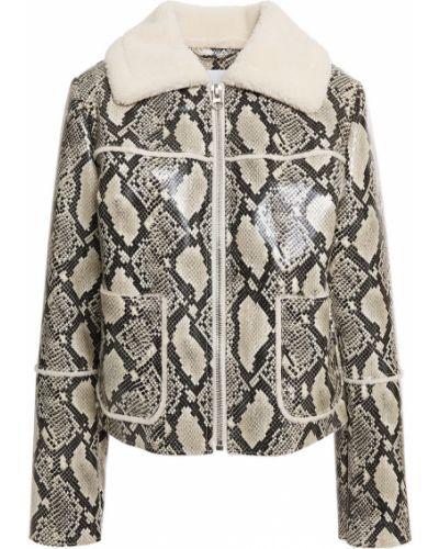Кожаная куртка с накладными карманами с заплатками Stand Studio