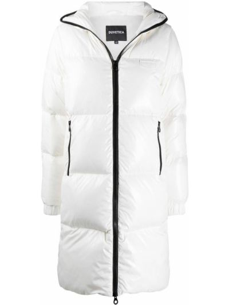 Белое пальто классическое с капюшоном с перьями Duvetica