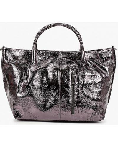 Серая сумка с ручками из натуральной кожи Valensiy