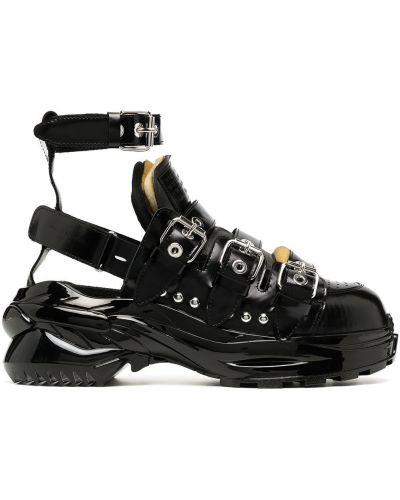 Skórzany czarny skórzany sandały z klamrą okrągły Maison Margiela