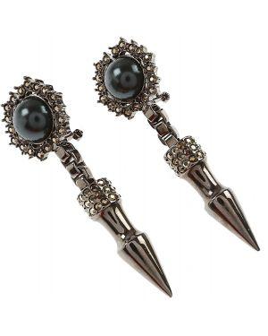 Szare kolczyki sztyfty perły Mawi