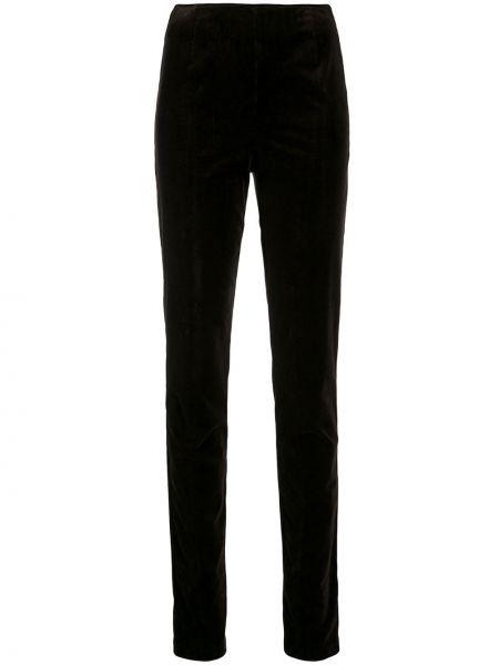 Приталенные коричневые брюки на молнии вельветовые Holland & Holland