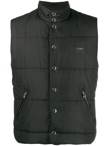 Черная жилетка с карманами на молнии с воротником Dolce & Gabbana