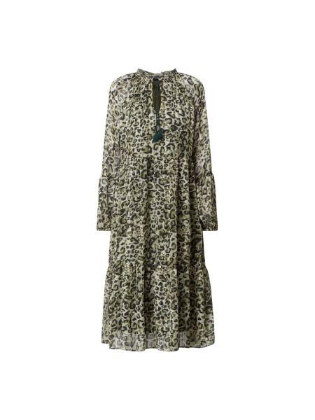 Sukienka rozkloszowana z wiązaniami - zielona Ilse Jacobsen