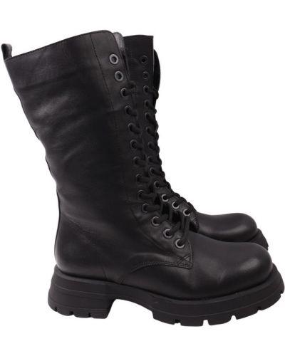 Кожаные ботинки - черные Aquamarin