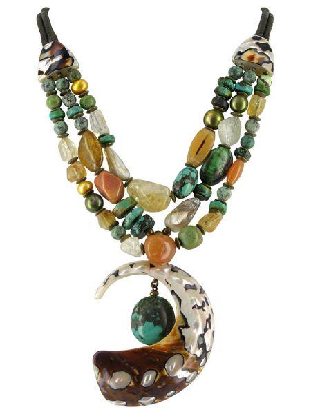 Ожерелье с жемчугом - бирюзовое Nature Bijoux