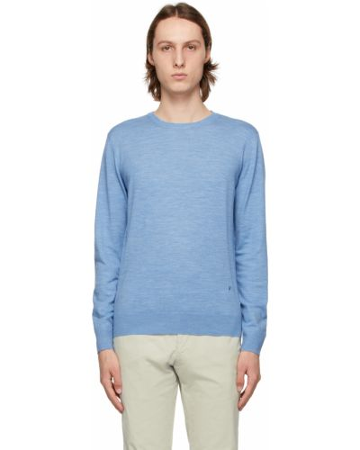 Niebieski długi sweter wełniany z haftem Isaia