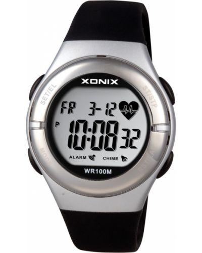 Czarny zegarek sportowy srebrny Xonix