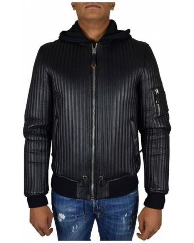 Czarna kurtka skórzana pikowana Philipp Plein