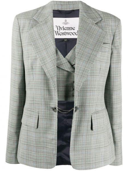 Приталенный белый удлиненный пиджак в клетку Vivienne Westwood