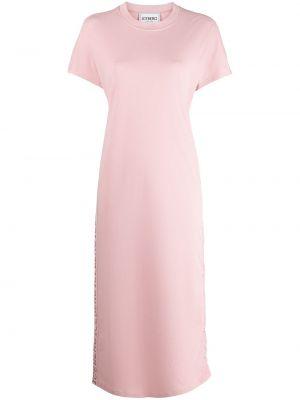 Розовое трикотажное платье-рубашка с короткими рукавами Iceberg