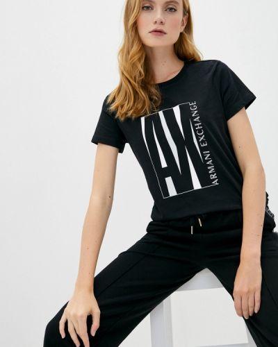 С рукавами черная футболка Armani Exchange