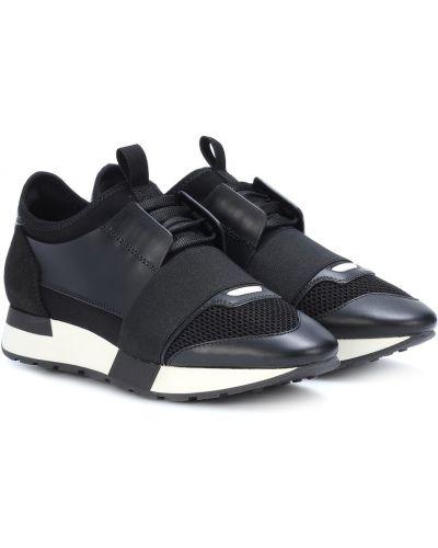 Базовые черные кожаные кроссовки Balenciaga