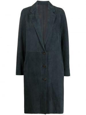 Однобортное синее кожаное пальто классическое Yves Salomon