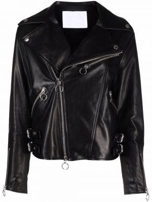 Кожаная куртка длинная - черная Drome