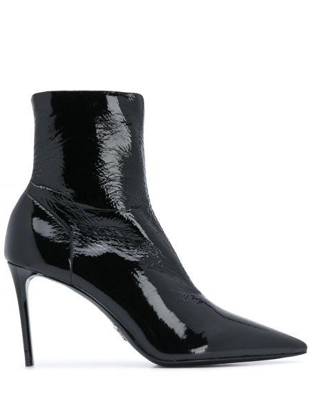 Czarny buty na pięcie z ostrym nosem na pięcie z prawdziwej skóry Prada