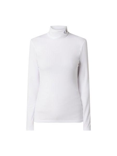 Bawełna biały bluzka z długim rękawem z kołnierzem wąskie cięcie Calvin Klein Jeans