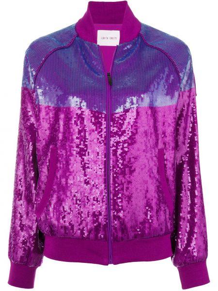 С рукавами шелковая розовая длинная куртка круглая Alberta Ferretti