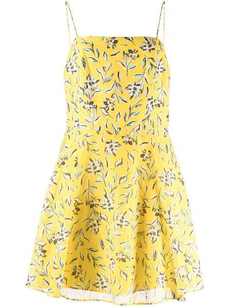Желтое платье на бретелях с вырезом в цветочный принт Alice+olivia