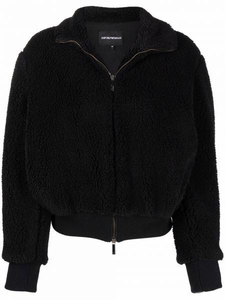 Черная куртка из овчины Emporio Armani