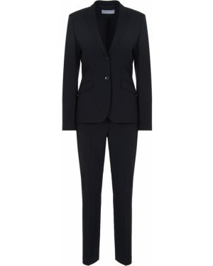 Черный классический костюм на пуговицах с поясом Hugo Boss