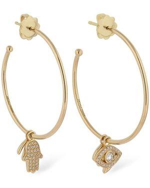 Żółte złote kolczyki sztyfty z diamentem Netali Nissim