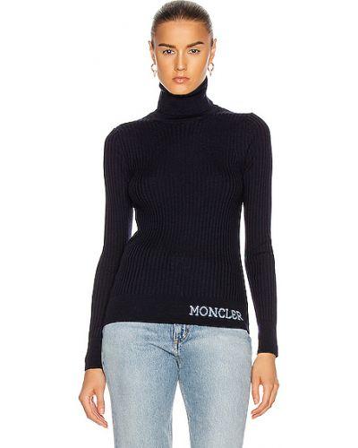 Niebieski sweter wełniany miejski Moncler