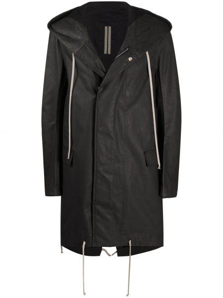 Czarny długi płaszcz z kapturem bawełniany Rick Owens Drkshdw