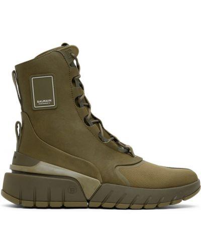 Кожаные высокие кроссовки хаки на каблуке с заплатками Balmain