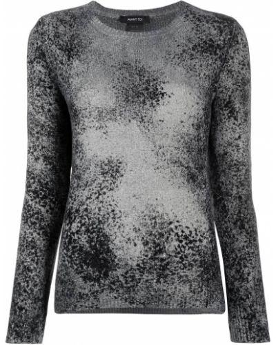 Шелковый серый джемпер в рубчик с круглым вырезом Avant Toi