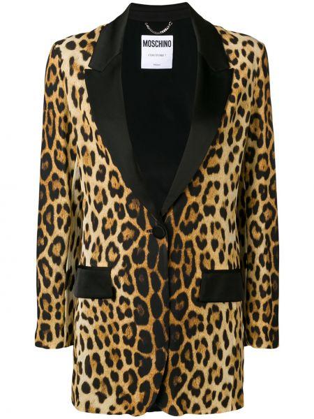 Шелковый коричневый пиджак с карманами Moschino