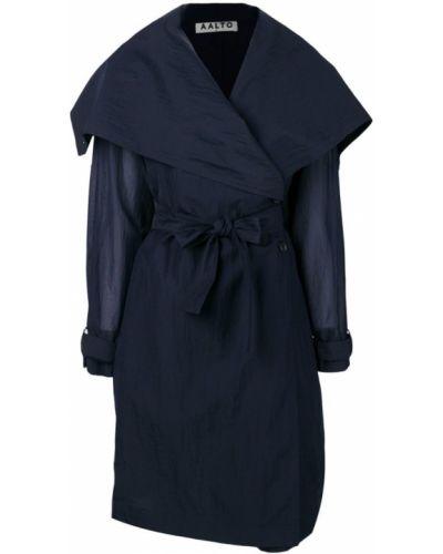Синее длинное пальто с капюшоном Aalto