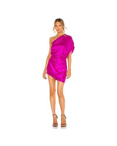 Шелковое розовое платье мини на молнии со складками Michelle Mason