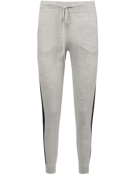 Кашемировые серые спортивные брюки с нашивками с поясом Amanda Wakeley