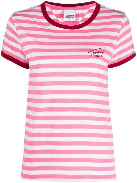 Różowy bawełna koszula jeansowa krótkie rękawy z paskami Tommy Jeans