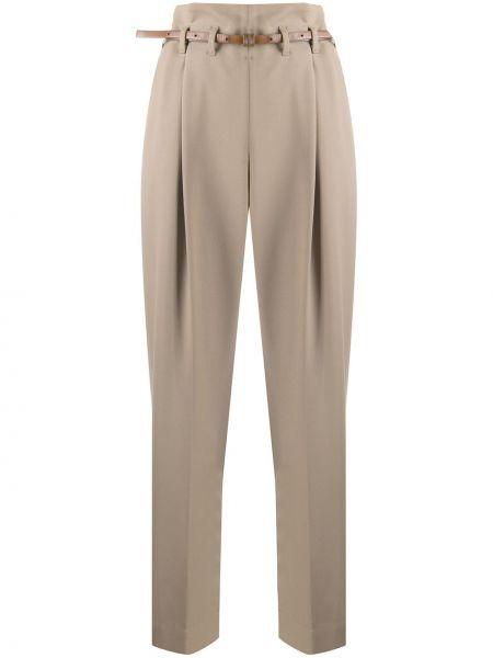 Шерстяные коричневые деловые плиссированные брюки Brunello Cucinelli
