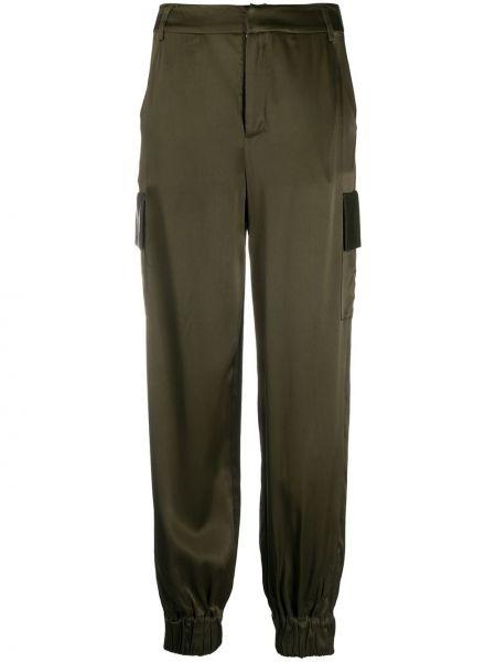 Зеленые брюки с манжетами из вискозы John Richmond