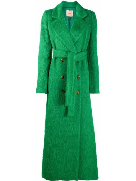 Зеленое пальто из мохера на пуговицах с лацканами Twin-set
