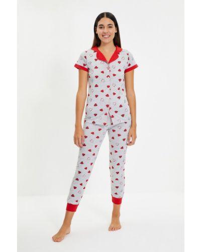 Piżama bawełniana - szara Trendyol