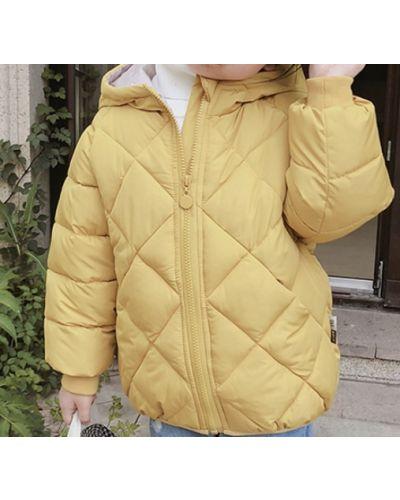 Желтая стеганая куртка в цветочный принт Rozetka