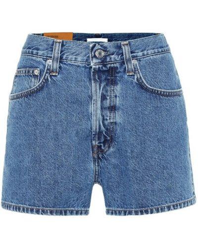 Однобортные джинсовые шорты со стразами Helmut Lang