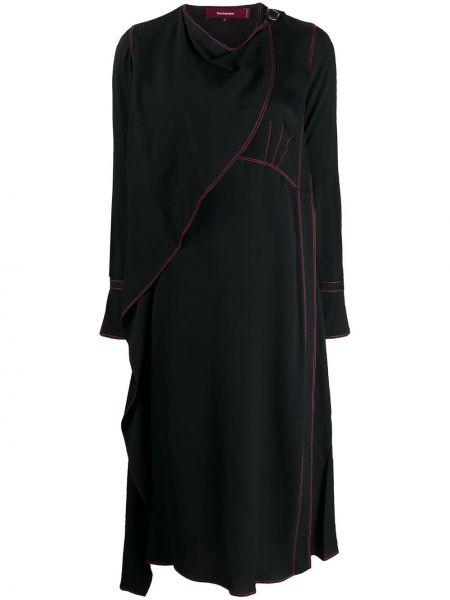 Шелковое с рукавами черное платье макси Sies Marjan