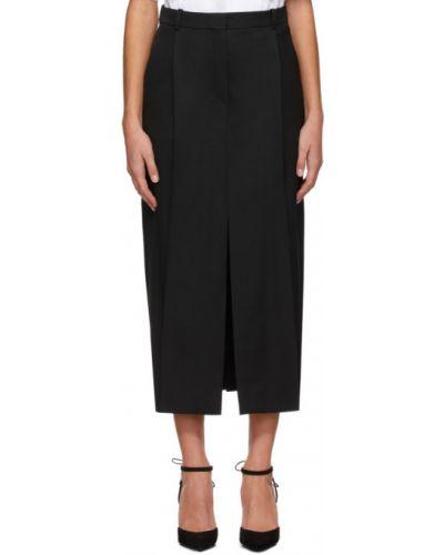 Брючная сатиновая черная юбка с поясом Nina Ricci