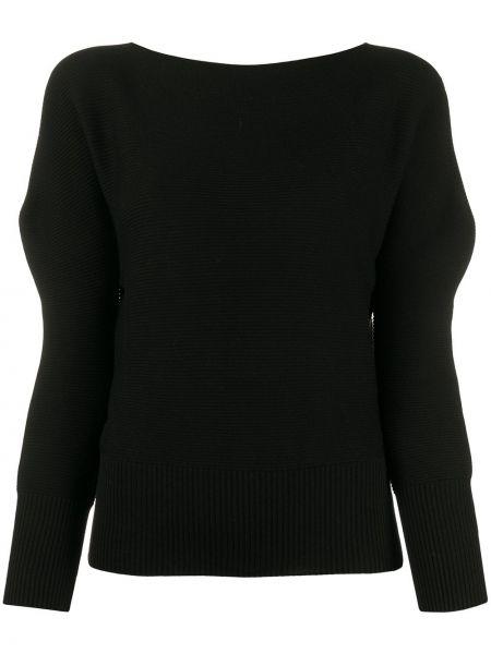 Prążkowany czarny top z długimi rękawami 132 5. Issey Miyake