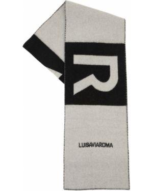 Z kaszmiru czarny szalik z haftem Luisaviaroma