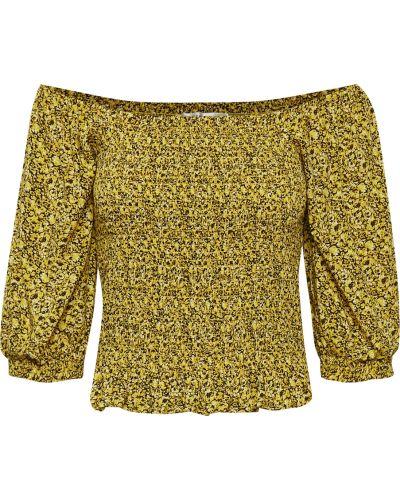 Żółta bluzka z długimi rękawami boho Gestuz